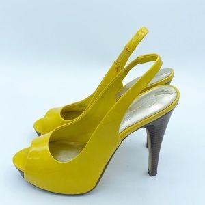 Jessica Simpson Sling Back Yellow Leather Heel, 8